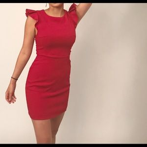 Adorable Red Dress with Ruffle Sleeves